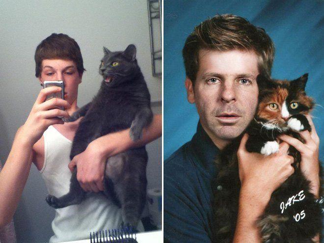 Lamentables fotografías de hombres y gatos
