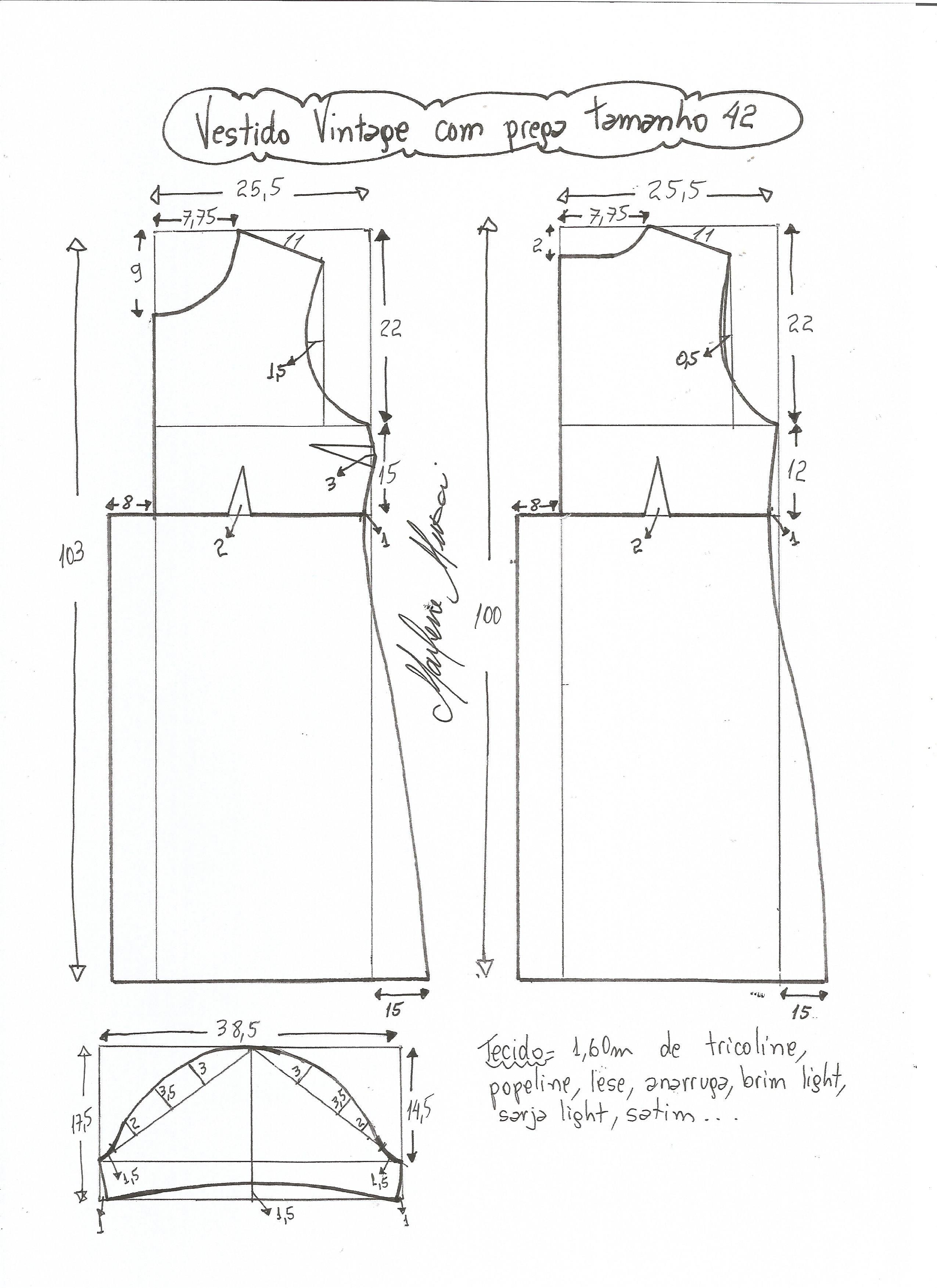 vestido vintage com prega o pliegue talla-42 corte imperio | Costura