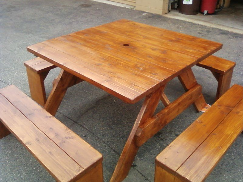 4ft Square Douglas Fir Picnic Table With Four Separate 4ft Benches. Stained  And Polyurethaned.