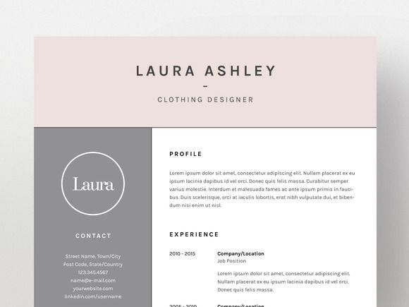 Laura Ashley - Resume\/CV Template by Worn Out Media Co on - resume cv template