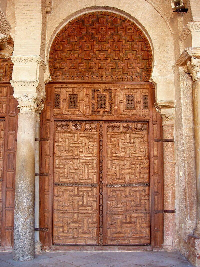 Great Mosque of Kairouan - one of the seventeen carved-wood doors of the prayer hall - Tunisia | Wood exterior door, Doors, Interior barn doors