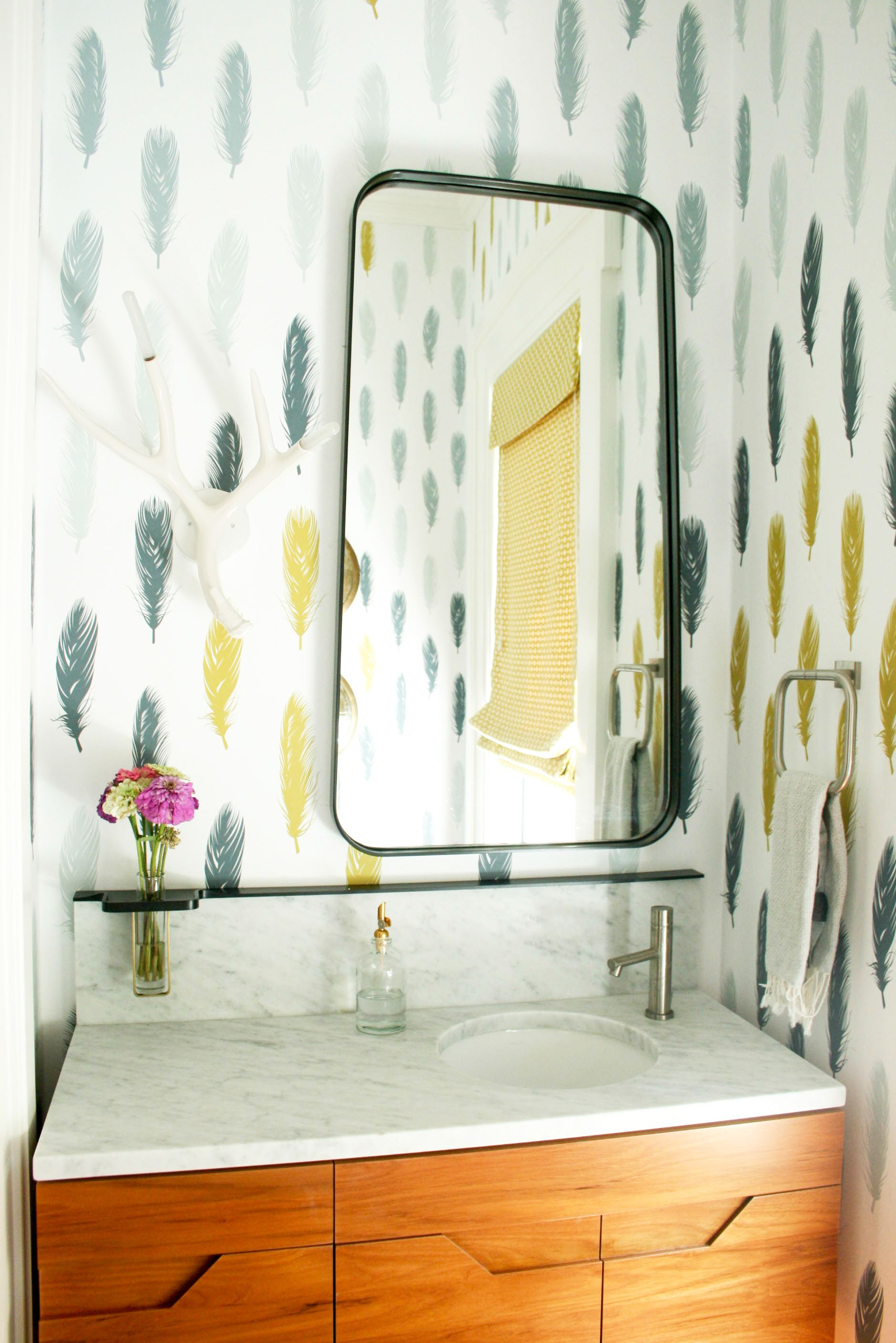 Custom Feather Wallpaper Contemporary Bathroom Design Powder Room