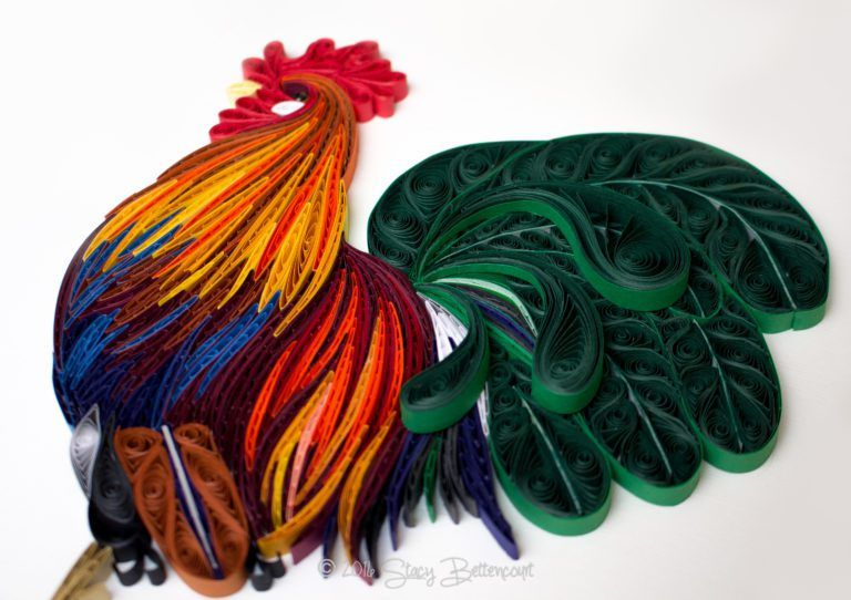 Colorful Quilled Rooster