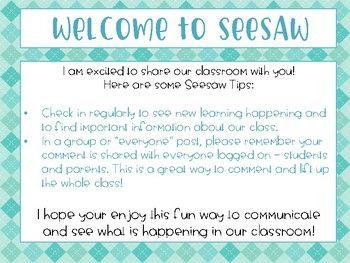 SeeSaw App Note Seesaw, to kindergarten