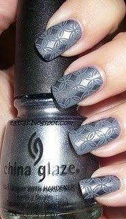 grey pattern nails. Hmm 50 shades of nail polish?