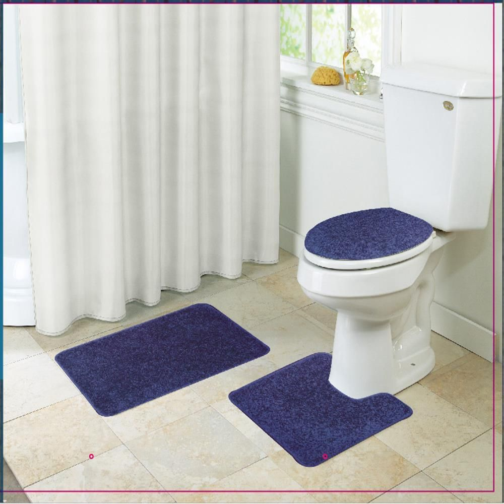 Layla Shaggy Style 3 Piece Bathroom Set, Bath Mat, Contour, Seat ...