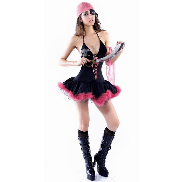 black skull beading bubble female pirate halloween costume 30 liked on polyvore featuring - Pirate Halloween Costumes Women