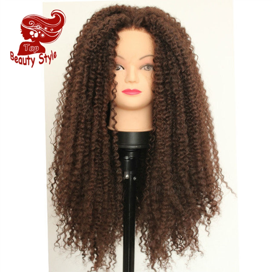 43.20$  Watch here - http://aliaax.worldwells.pw/go.php?t=32786186711 - New Glueless Heat Resistant Synthetic Lace Front Wig Brown Color Curly Hair Wigs For Black Women Free Shipping