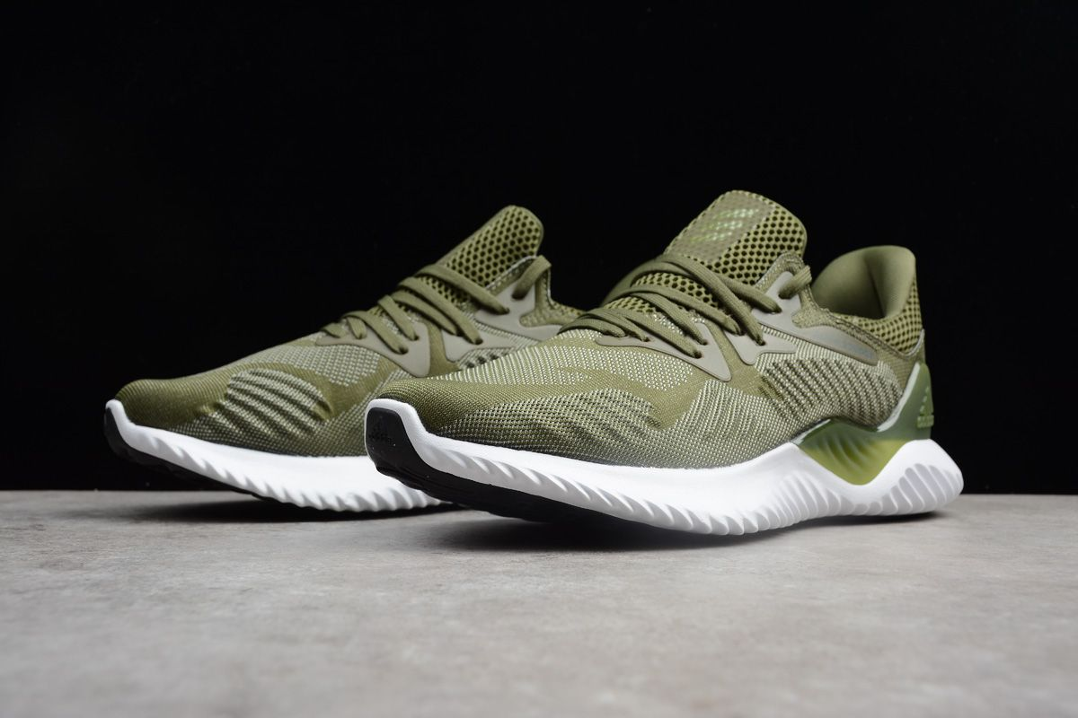 New adidas AlphaBounce Army Green White
