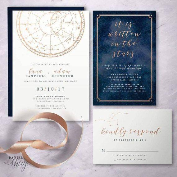 written in the stars celestial wedding invitation suite digital file