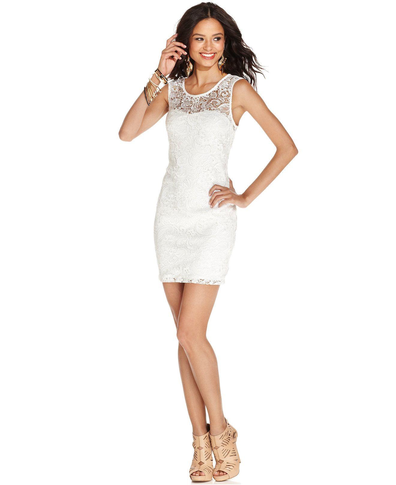 As U Wish Juniors' Lace Cutout Bodycon Dress - Juniors Dresses ...