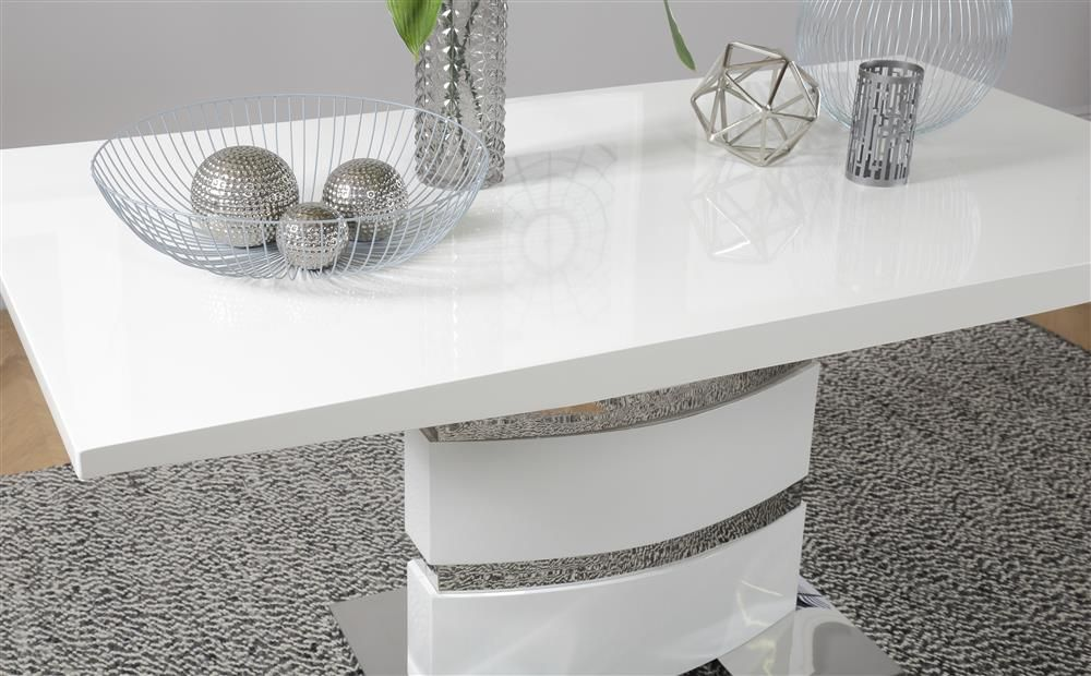 Komoro White High Gloss Dining Table With 4 Perth Grey Leather