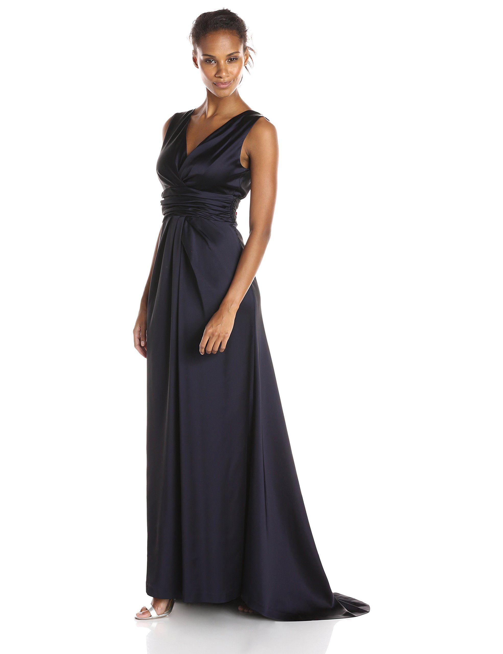 69f89ef68377 Vera Wang Women's Deep V Pleated Bodice Long Satin Dress, Navy, 6 ...