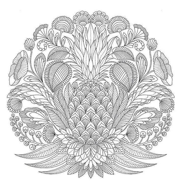 ausmalbilder-erwachsene-ausdrucken-tropisches-motiv-ananas | Hobby ...