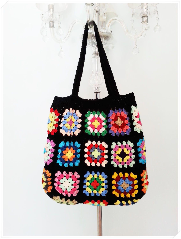 Crochet Bag, Retro Bag,Crochet Beach Bag, Granny Square Bag, Boho ...