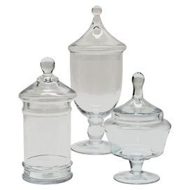 Three Piece Glass Jar Set With Footed Bases And Finials Product Small Medium And Large Jarconstruction Material Decorative Glass Jars Jar Decorative Jars