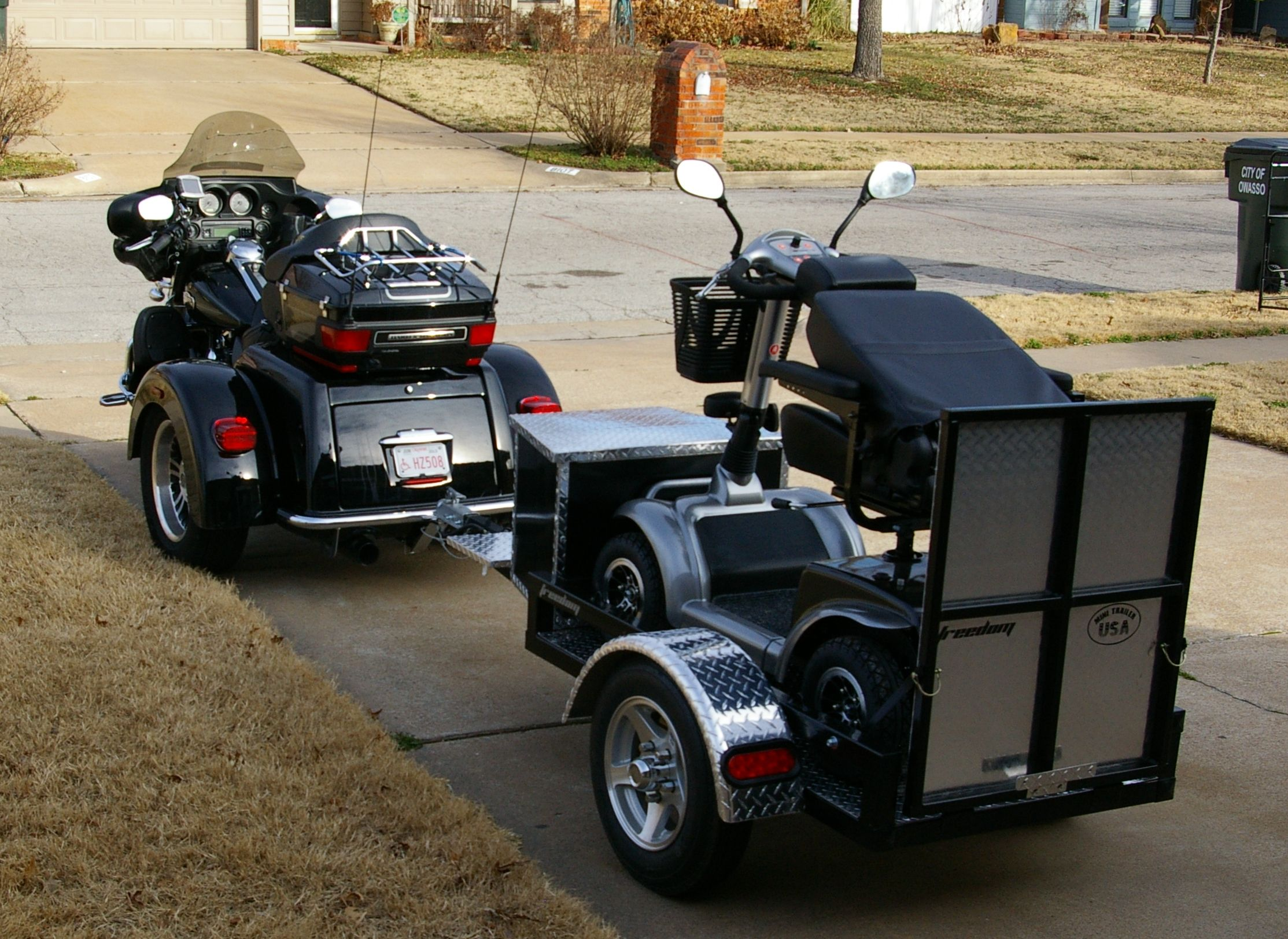 wheelchair trailer lounge chair legs perth happy freedom customer sent photos of his trike