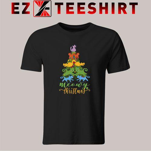 Tshirt Merry Meowy Christmas Tree Cat Holiday. shirt Top Tees -   14 holiday Logo trees ideas