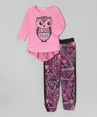 Loving this Kiss Pink Owl Lace Tee & Tribal Leggings on #zulily! #zulilyfinds