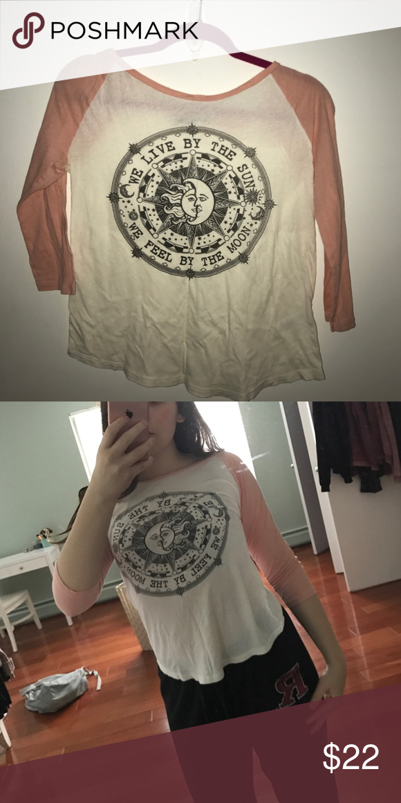 Lightly worn baseball tee Cotton cute tee! Looks so much better on than on the hanger! (not brandy) Brandy Melville Tops Tees - Long Sleeve