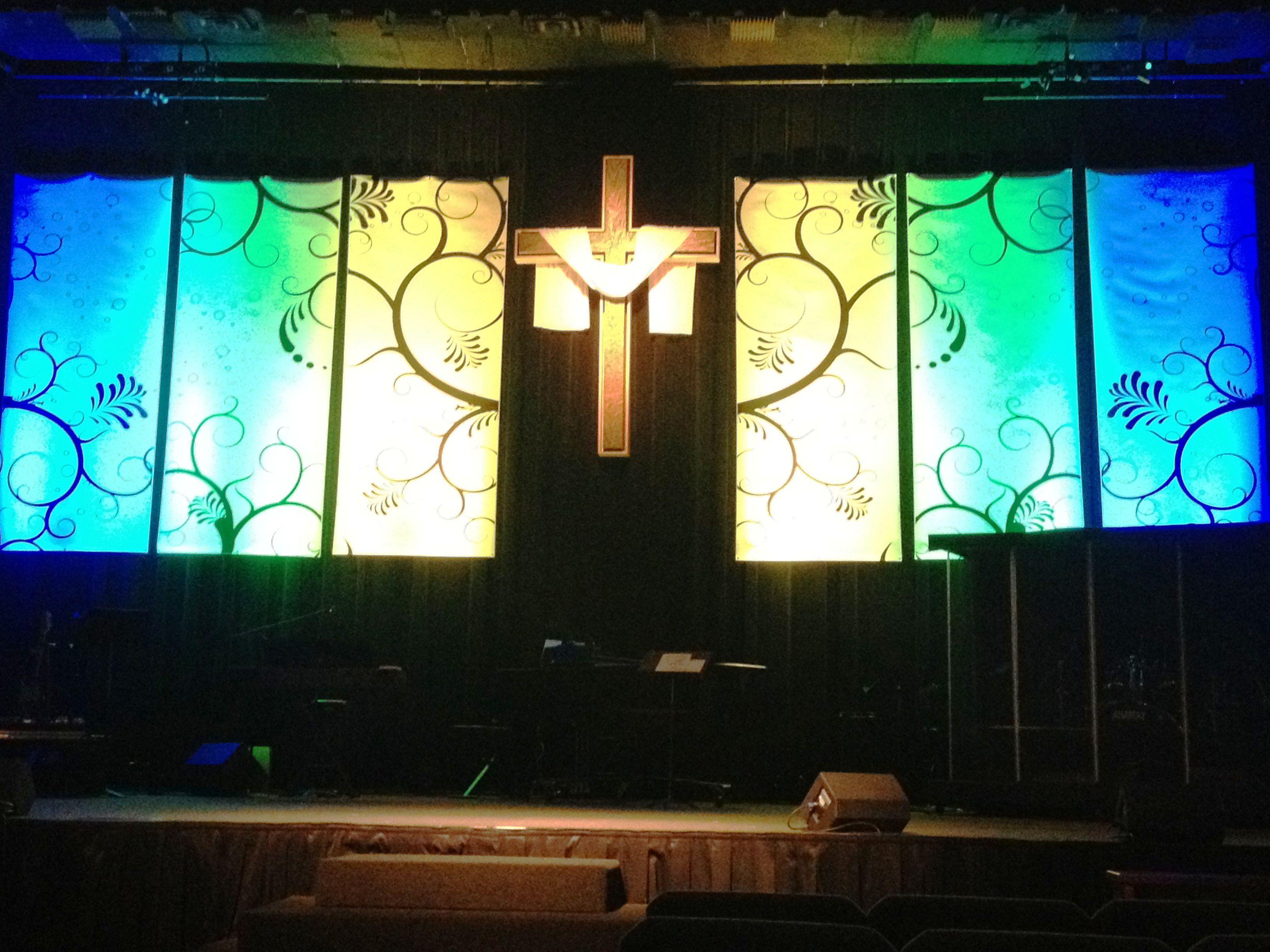Swirly Banners | Church Stage Design Ideas | Set design | Pinterest ...