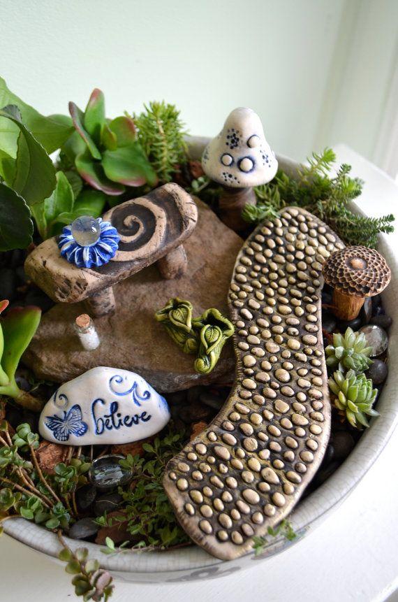Fairy Garden Kit Believe Stone Bench Furniture By Garnetteh