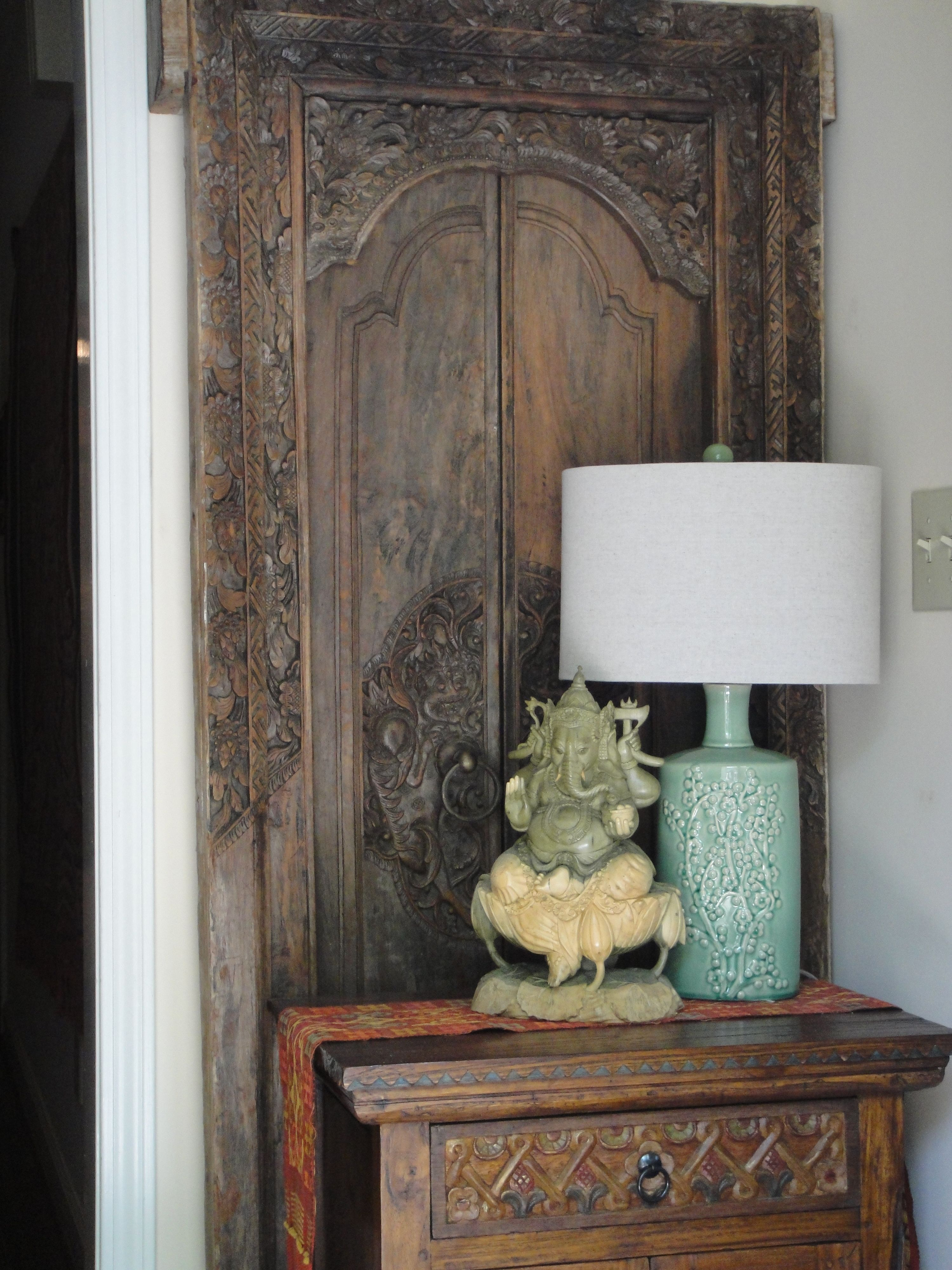Ethnic Entryway   Antique Balinese Door  Ganesha wood Carving from Bali and  teak cabinet. Ethnic Entryway   Antique Balinese Door  Ganesha wood Carving from
