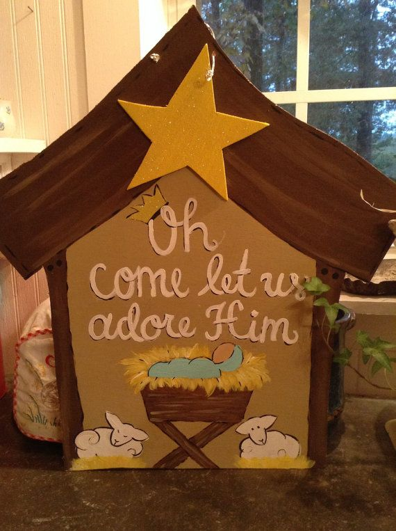 Nativity Door Hanger, christmas decor, hand painted