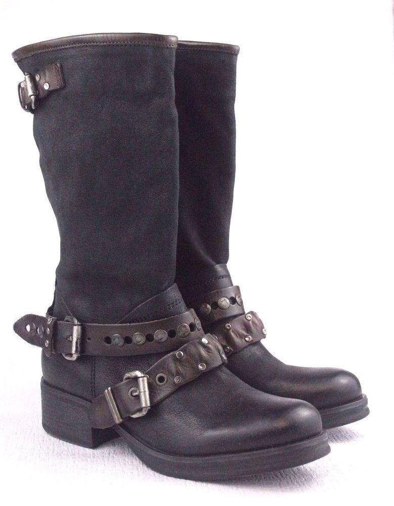 YKX & CO schwarz 8.5 Tall Double Buckle Boot JAMIE Größe US 8.5 schwarz EU 40  485 ... 8418fe