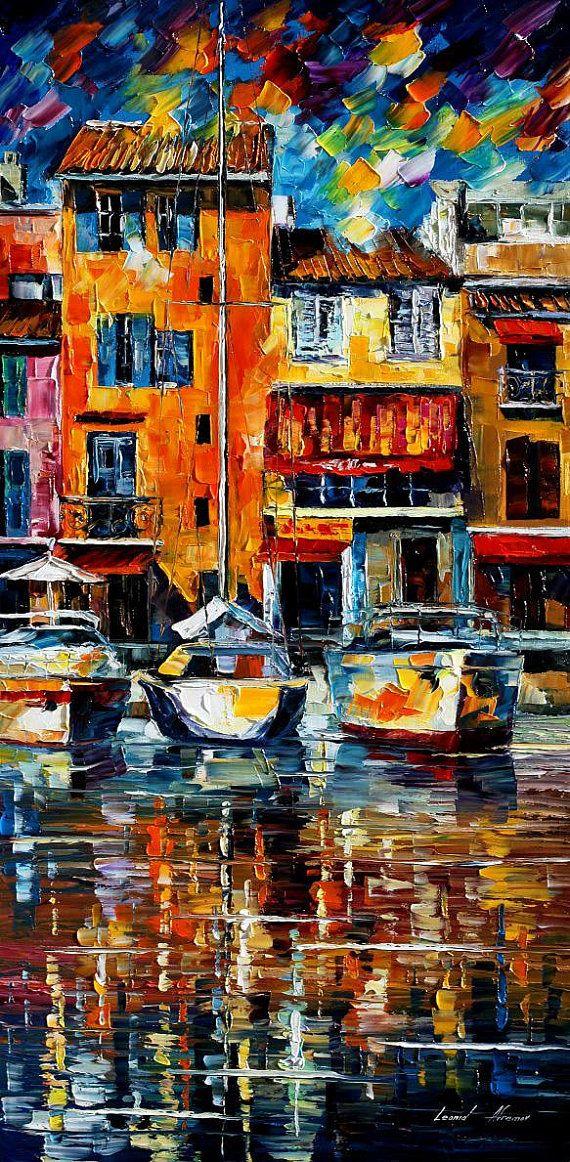 "City Pier — PALETTE KNIFE Cityscape Contemporary Wall Art Deco Oil Painting On Canvas By Leonid Afremov - Size: 20"" x 40"" (50 cm x 100 cm)"