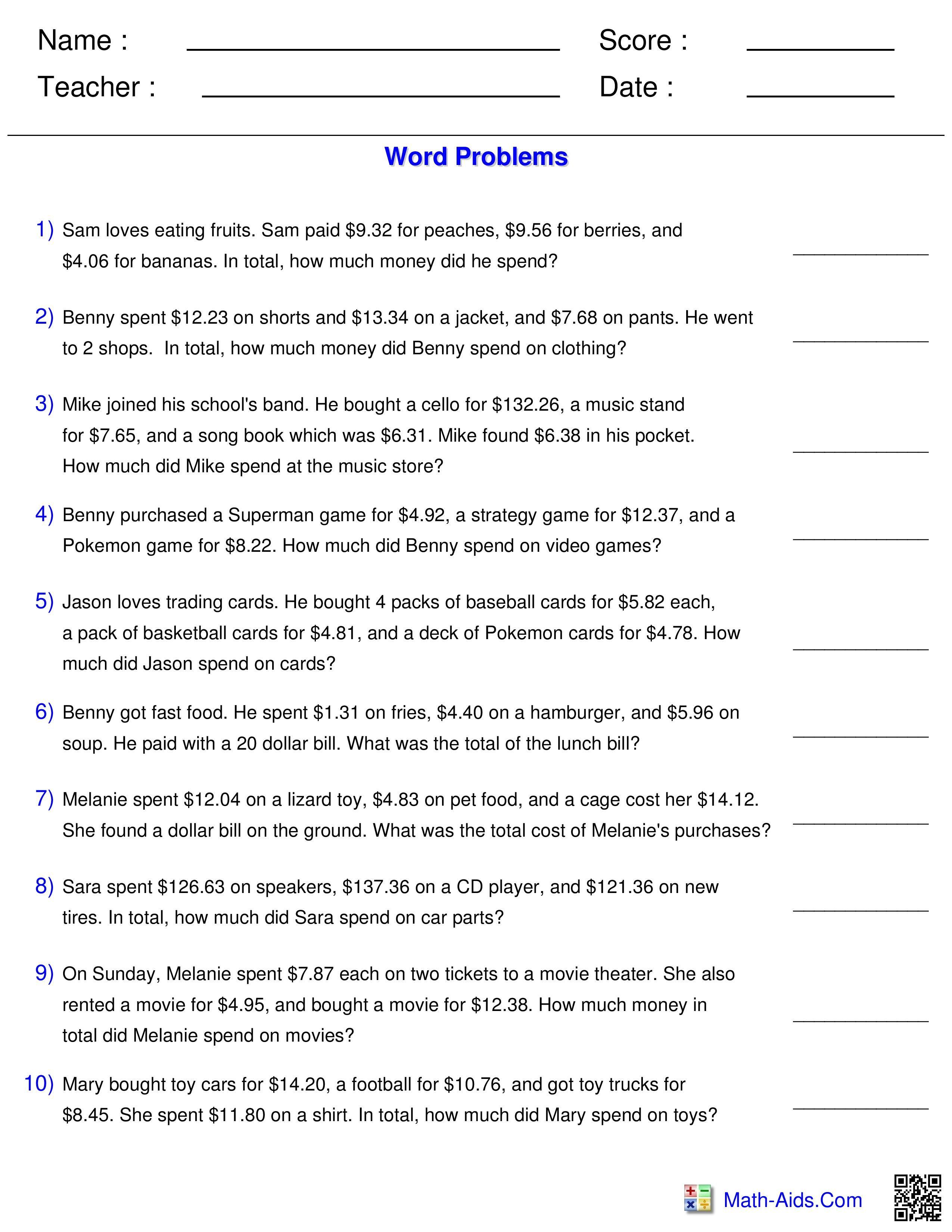 Best 20 Money Worksheets You Calendars Https Www Youcalendars Com Money Worksheets Html Word Problem Worksheets Word Problems Math Words Estimation word problems worksheets