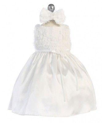 BIMARO Baby Mädchen Taufkleid Louise weiß Babykleid Kleid Satin ...
