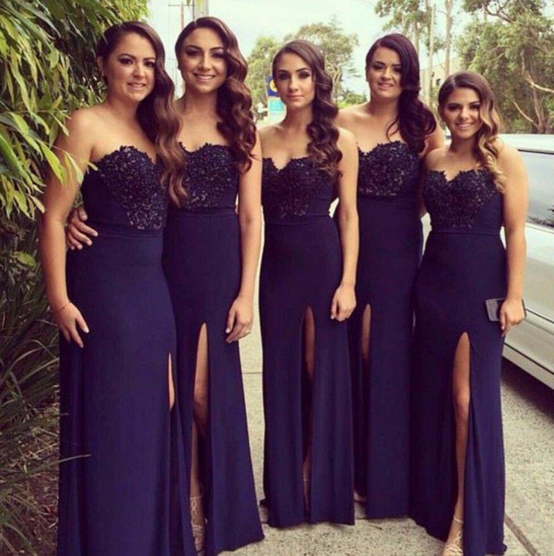 Hote Fashion Sweetheart Floor Length Lique Beaded Deep Purple Chiffon Thigh High Dress Bridesmaid Dresses 2017 New