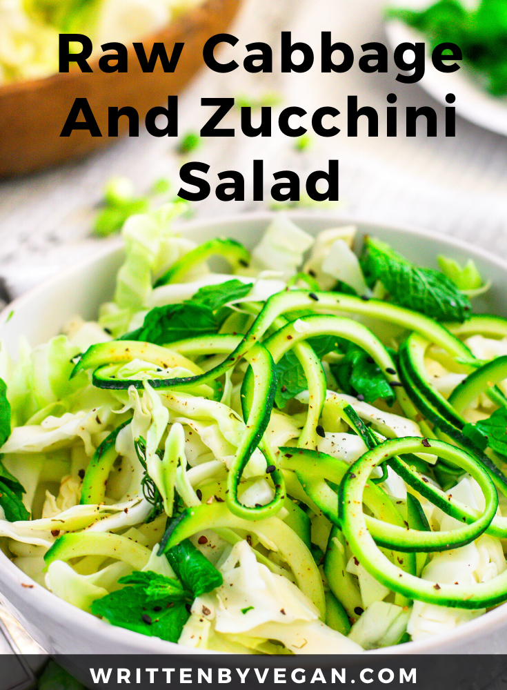 Raw Cabbage And Zucchini Salad Written By Vegan Recipe In 2020 Potatoe Salad Recipe Zucchini Salad Mediterranean Salad Recipe
