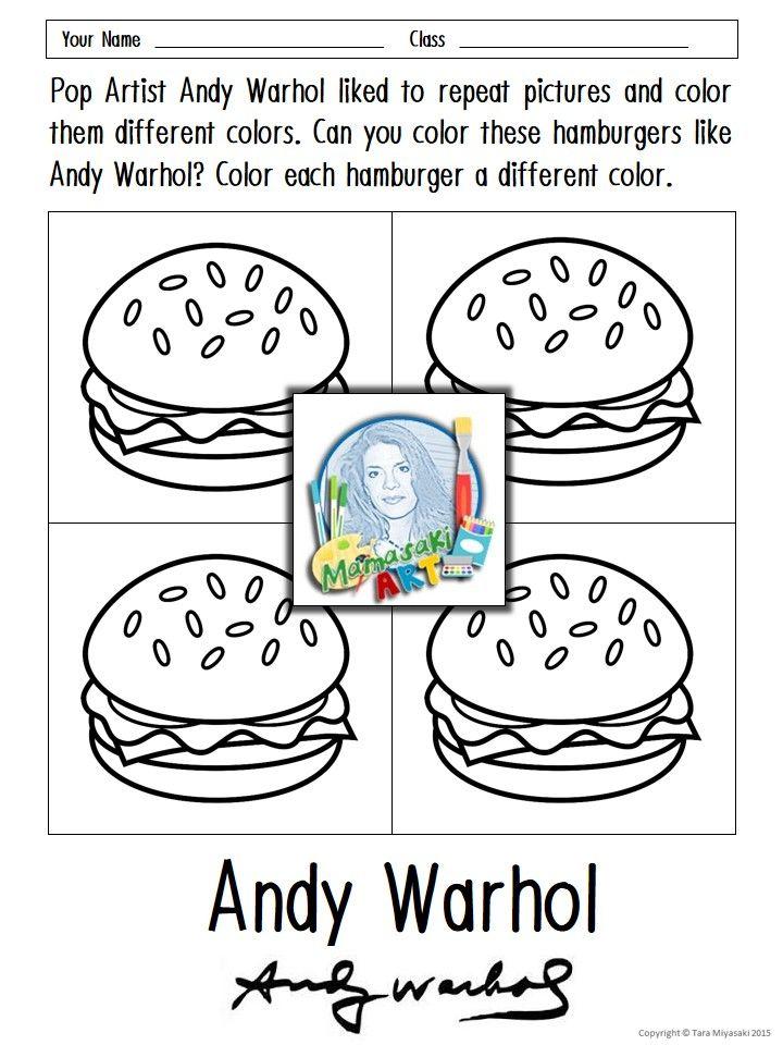 FREE Andy Warhol Coloring Sheets Coloring Pinterest Warhol