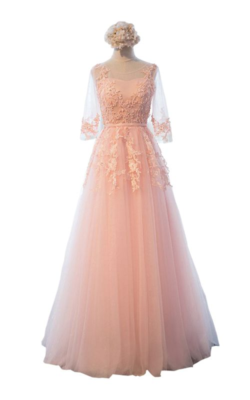 A Line Empire Pink Floor Length Mermaid Sequined Lace Beading Long