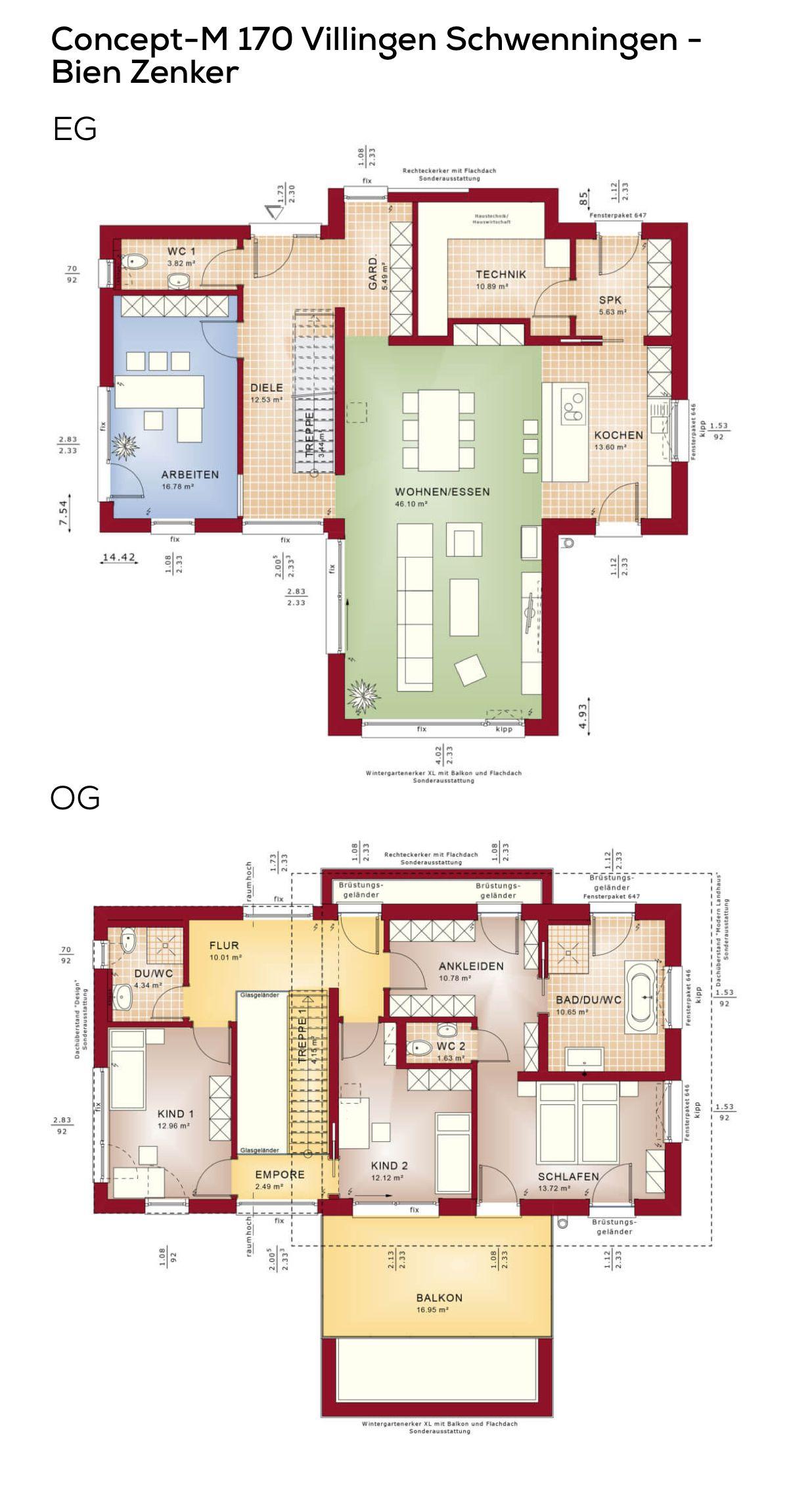 Grundriss Einfamilienhaus modern mit Galerie & Pultdach