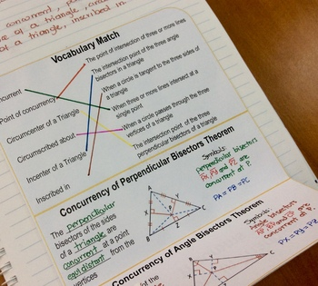 Bisectors in Triangles Theorems Foldable and Match