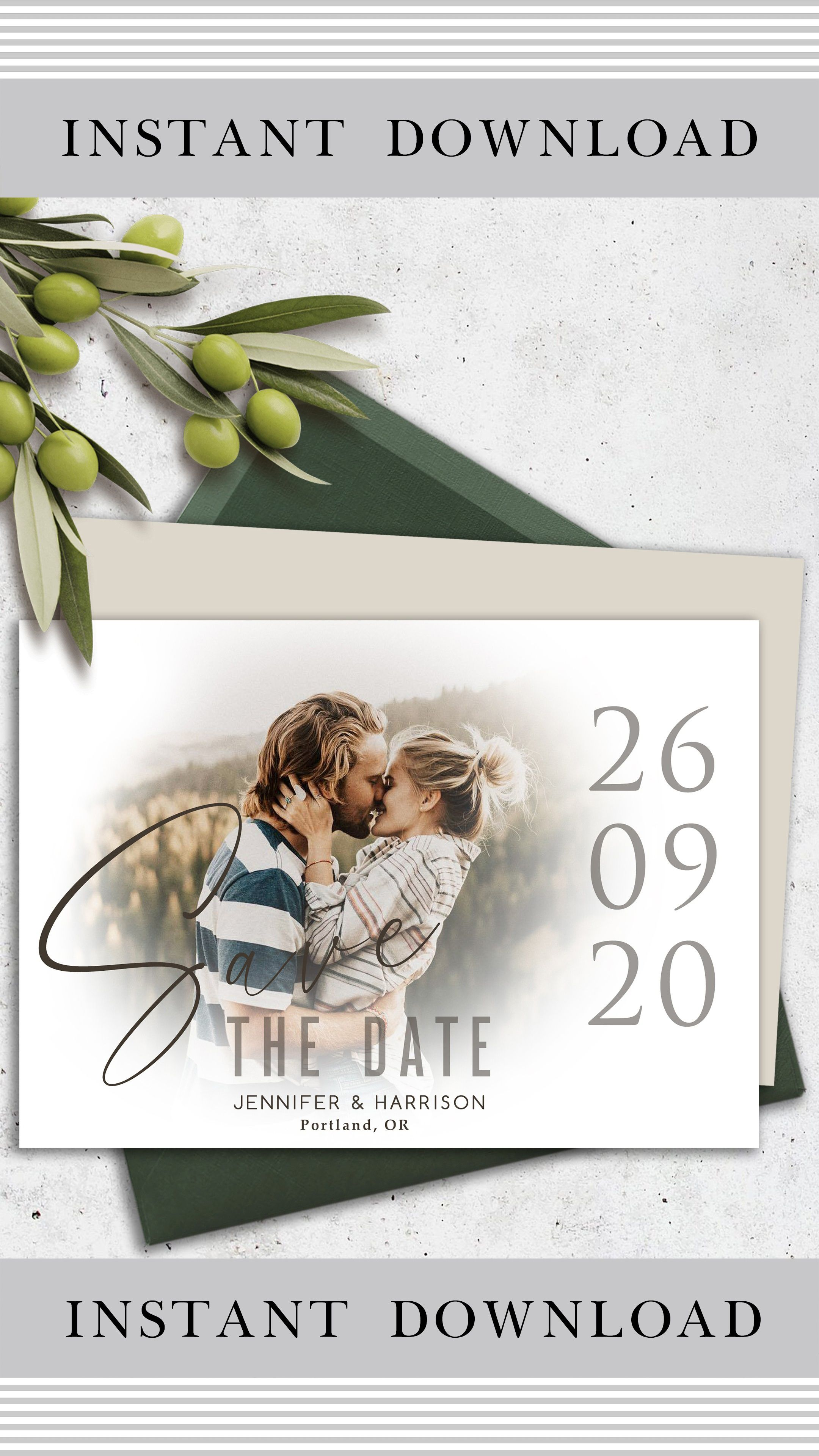 Instant download. Wedding announcement card with a photo Personalized editable cards save your date Save the date template