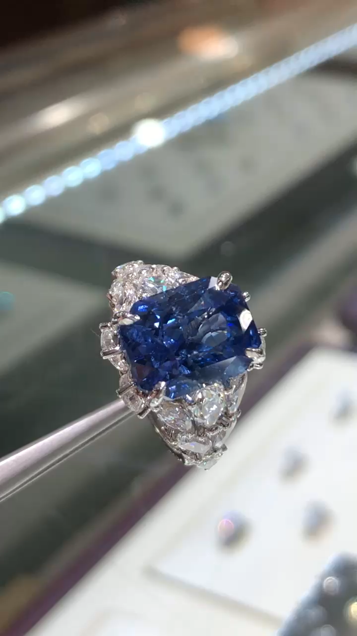 custom platinum sapphire ring 9.5 carat untreated sapphire 4 carats pear cut diamonds visit our website for more details  Available 24/7 for support our customers