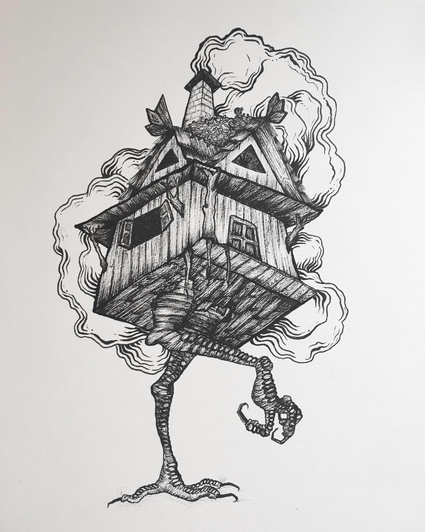 The House Of Baba Yaga Ink On Paper What Do You Think Lilmoonrock Art Inspiration Folk Illustration Baba Yaga