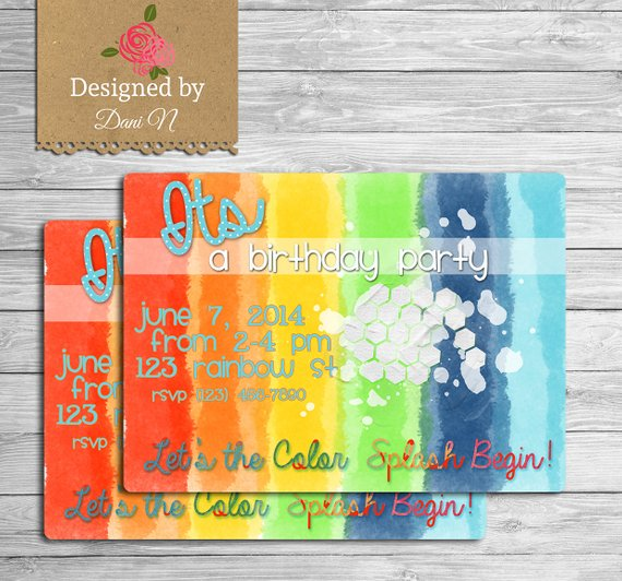 art birthday invitation rainbow party invite multicolor color