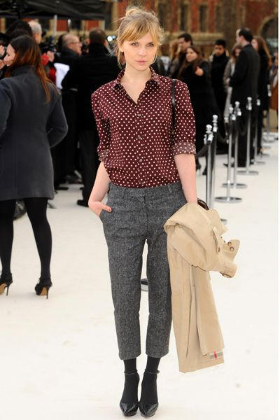 Dark maroon button-up shirt with white polka dots, grey cropped trousers, black pumps and tights / socks -- work / professional outfit