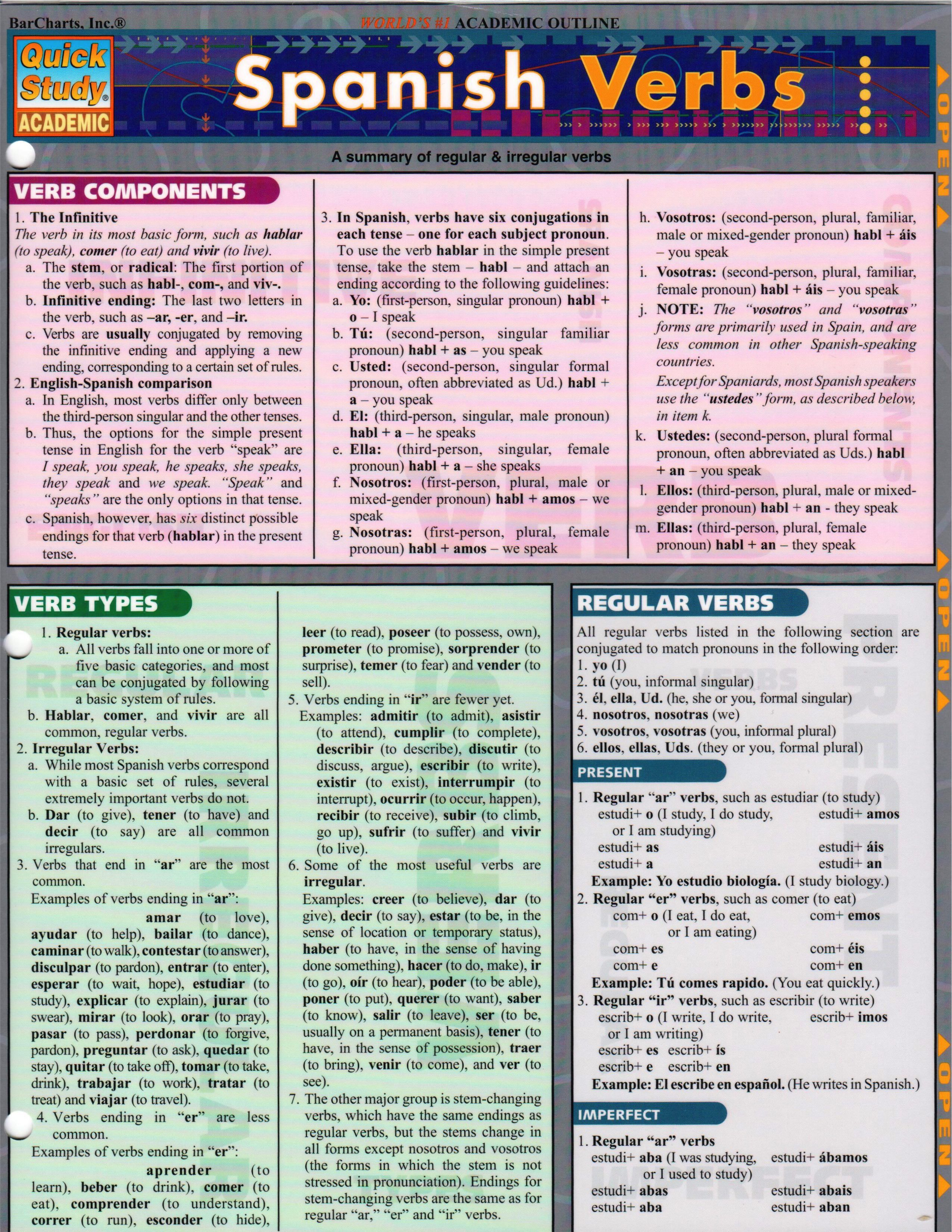 BarChart's Spanish Verbs Quick Study Guide is an outline of Spanish verb  basics; covering regular and irregular verb conjugation and listing useful  verbs