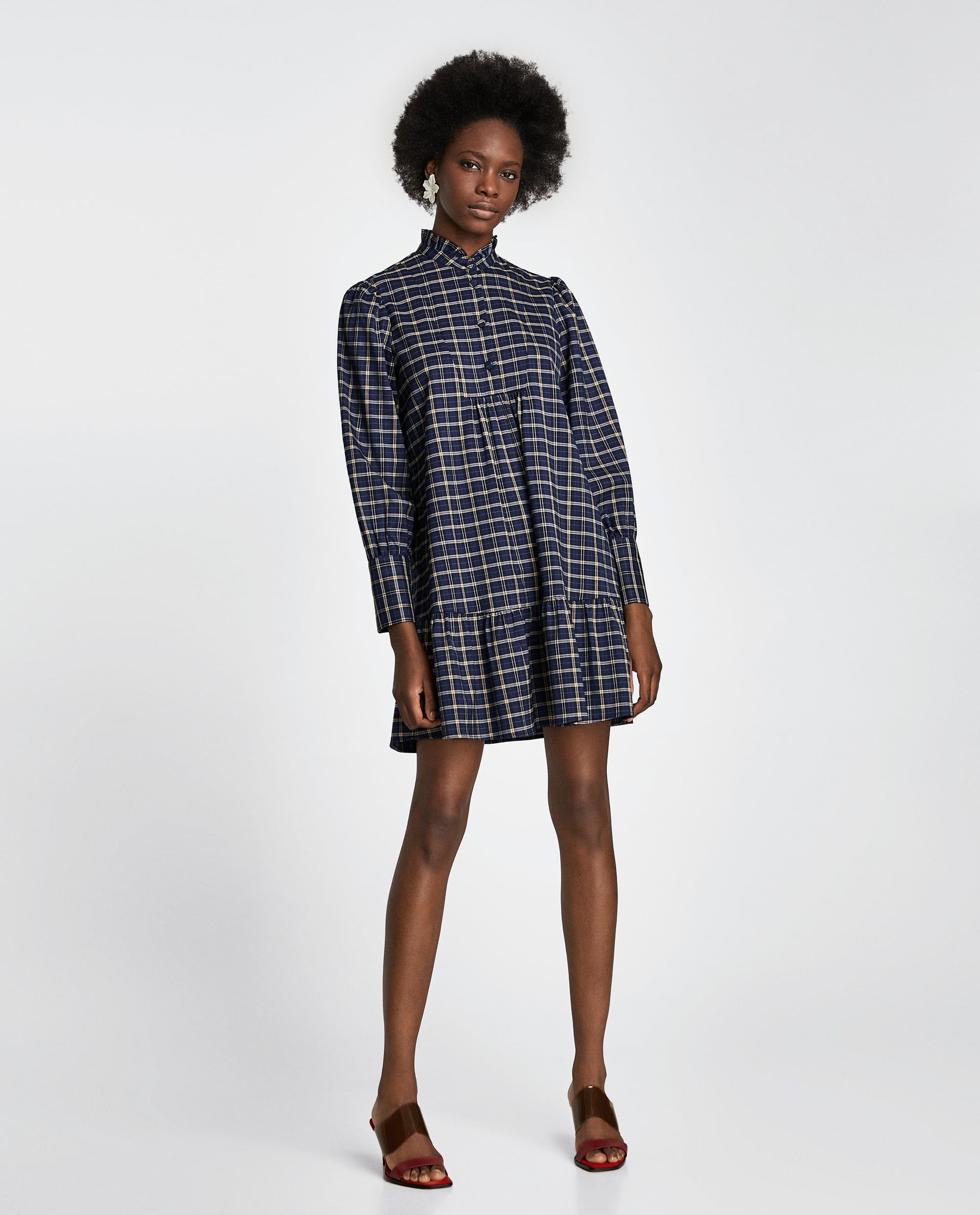 Zara Dan 1 Kareli Gomlek Elbise Resmi Zara Outfit Shirt Dress Checked Shirt Dress