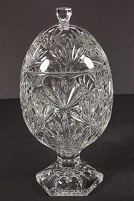 Domed Crystal Lidded Candy Bon Bon Dish Egg Shaped Fan