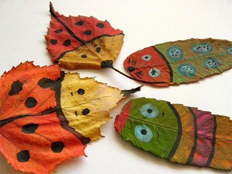 Осенние идеи: рисуем на листьях | Идеи для поделок ...