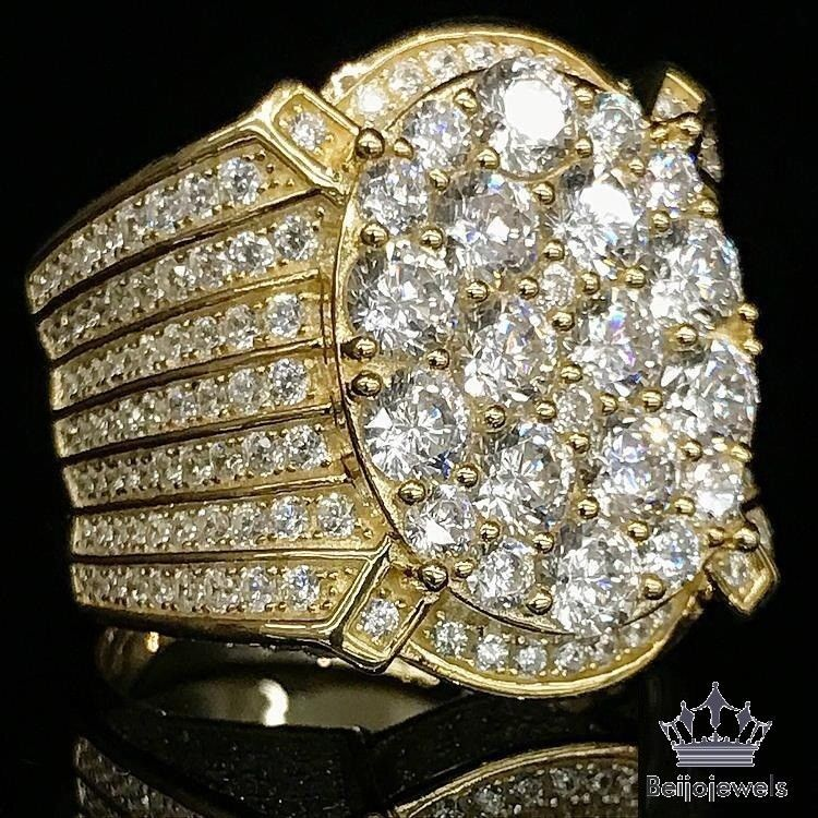 Yellow Gold Finish 3 50 Carat 3d Iced Out Mens Wedding Band Pinky