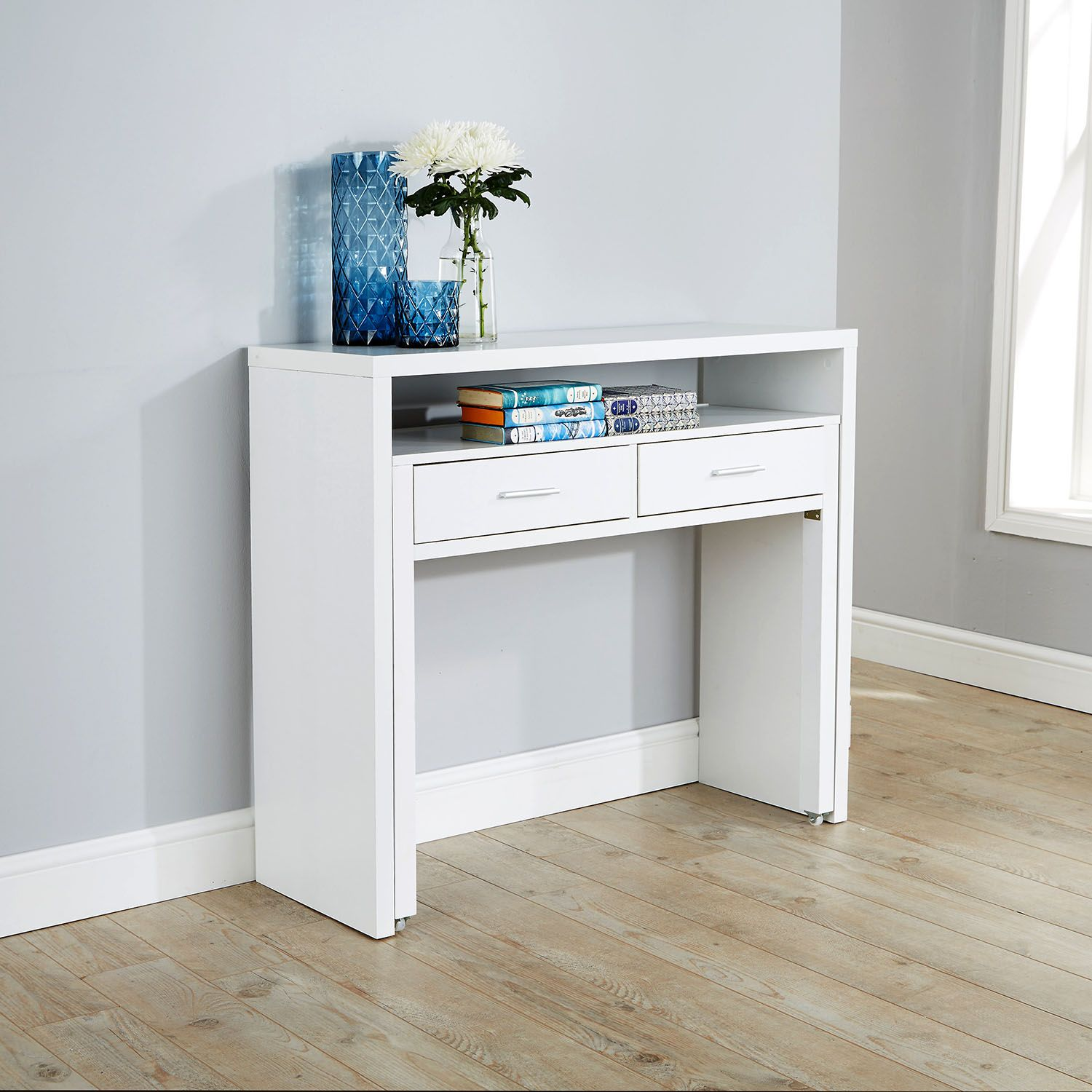 Regis hideaway console desk desk pinterest desks consoles an ideal space saving solution for students with limited space this piece of furniture extends from a console table to a desk in no time geotapseo Images