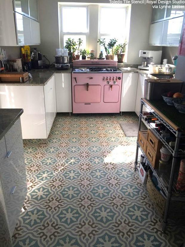 Insanely Gorgeous Kitchens With Tile Floor Stencils Diy Kitchen Decor Tile Stencil Kitchen Style